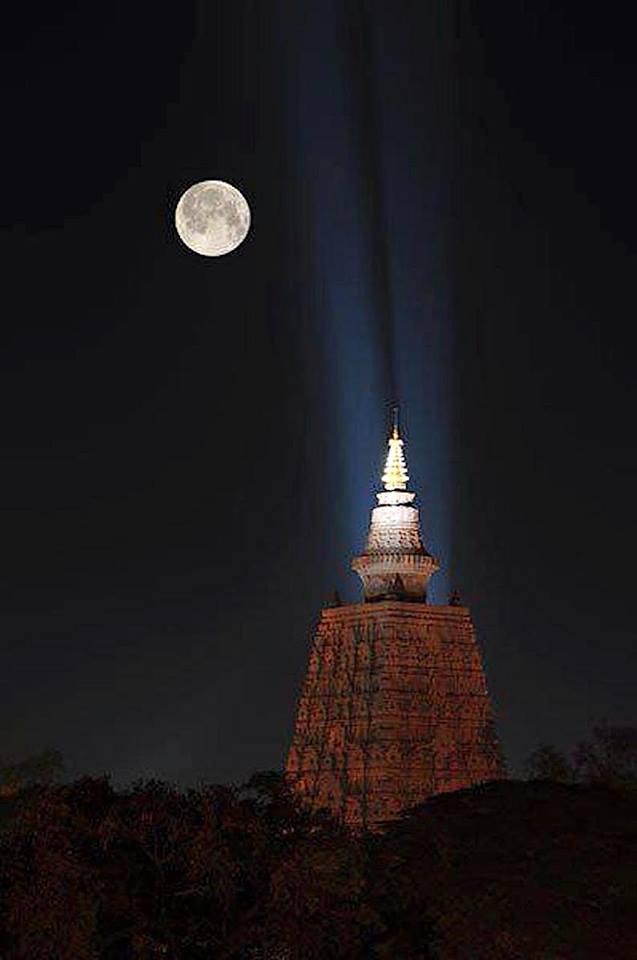 Bodhgaya Kadam Stupa by night